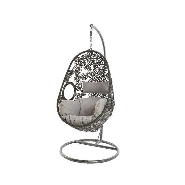 Egg chair rotan Rhodes grijs